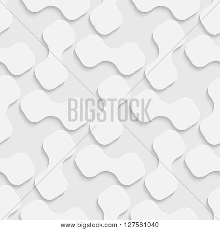 Seamless Curved Shape Pattern. 3d Vector Background. Regular White Texture