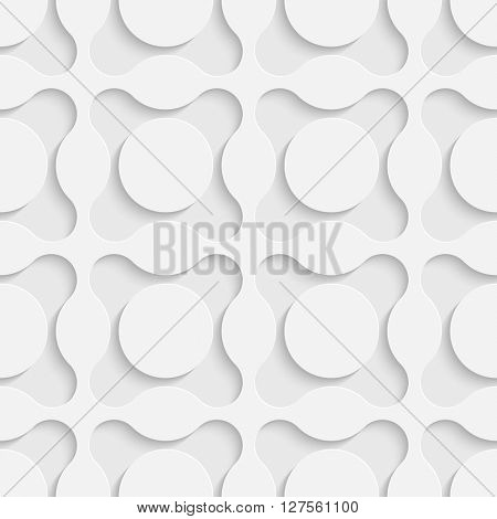 Seamless Circle Pattern. Vector Geometric Background. Regular White Texture