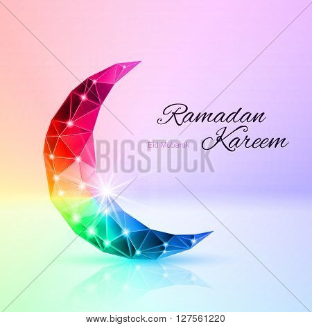 Glowing ornate crescent with reflection in rainbow shares. Greeting card of holy Muslim month Ramadan