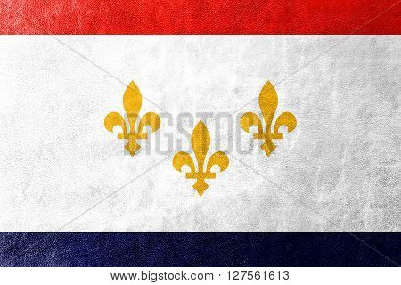 Flag Of New Orleans, Louisiana, Painted On Leather Texture