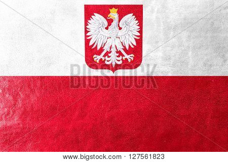 Flag Of Poland With Coat Of Arms, Painted On Leather Texture