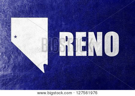 Flag Of Reno, Nevada, Painted On Leather Texture