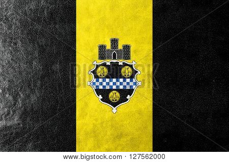 Flag Of Pittsburgh, Pennsylvania, Painted On Leather Texture