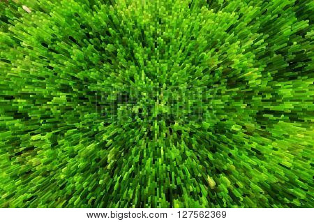 Green grass background with 3D extrude effect