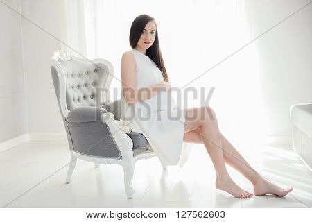 Young Pregnant Mom Sitting On The Armchair