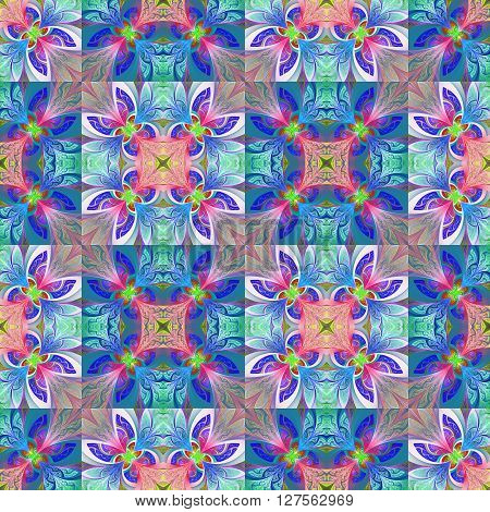 Two-tone seamless flower pattern in stained-glass window style. You can use it for invitations notebook covers phone case postcards cards wallpapers and so on. Artwork for creative design art and entertainment.