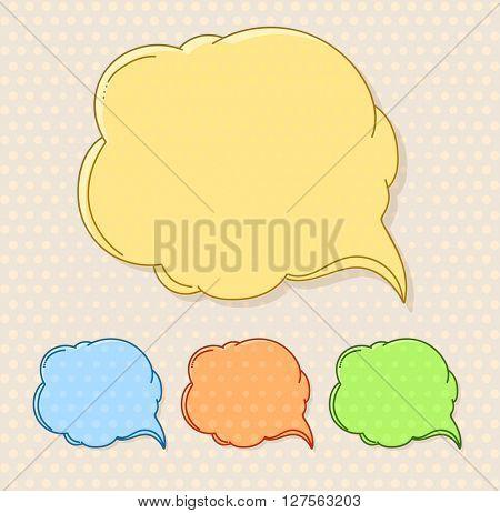 Hand-drawn comic style talk cloud. Copy-space color set