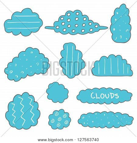 Cute hand drawn doodle clouds set. Clouds for decoration speech quotes