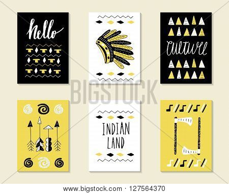 Cute doodle birthday party baby shower cards brochures invitations with indian hat cactus feather wigwam tribal decorative elements. Cartoon objects background. Black and golden templates set