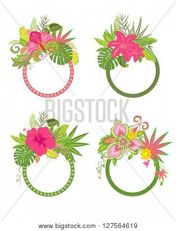 Set of beautiful bouquets with exotic flowers