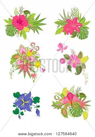 Labels with exotic flowers