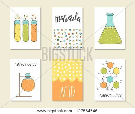 Cute hand drawn doodle postcards cards covers with lettering quotes molecule tube acid beaker flask. Positive printable templates set. Chemistry experiments science backgrounds set