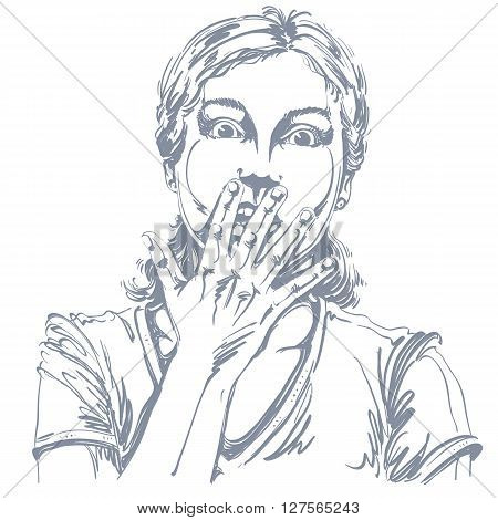 Graphic vector hand-drawn illustration of white skin impressed lady gesturing with hands. People face expressions. Terrified girl portrait.