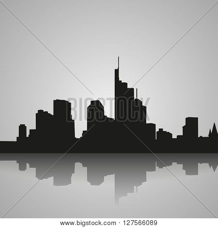 Black silhouette of Frankfurt with reflection. Vector illustration