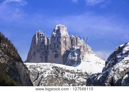 Tre Cime di Lavaredo Dolomite mountains Italy