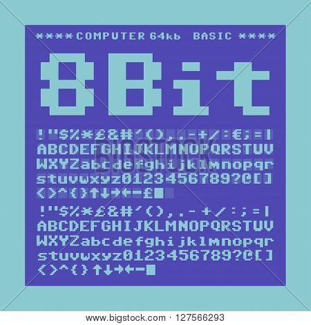 Old computer pixelate font. 6x6 pixels glyphs charset, bold style vector set.