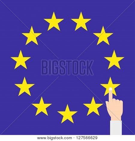 EU flag vector isolated with hand eps10