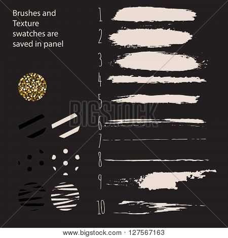 Hand drawn paint ink brushes and seamless pattern textue swatches. Brushstrokes and borderless patterns saved in panel.