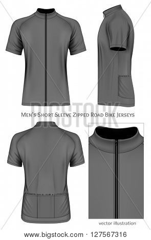 Men's short sleeve cycling jersey. Fully editable handmade mesh. Vector illustration.