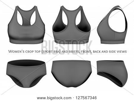 Women's crop top (sport bra) and briefs.  Fully editable handmade mesh. Vector illustration.