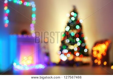 Decorated Christmas room, unfocused