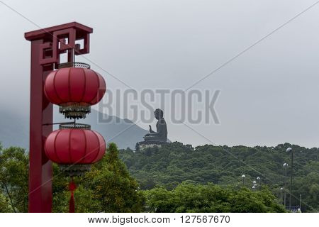 Tian Tan Buddha, with Chinese lanterns in the foreground