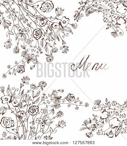 Graphic floral background for menu. Handdrawn design of vector illustration for the placard banner card.