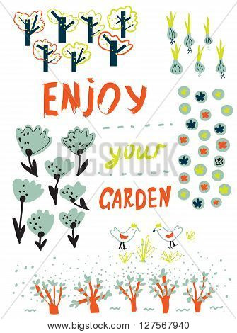 Gardening funny card with trees flowers birds and garden planning. Nice design for the card or placard vector illustration.