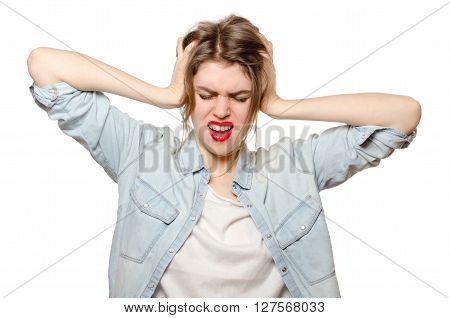 Portrait Of Attractive Excited Screaming Woman, Hold Hands On Head, Open Mouth With Brown Hair, Isol