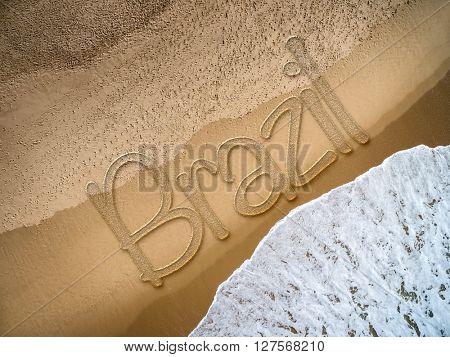 Brazil written on the beach
