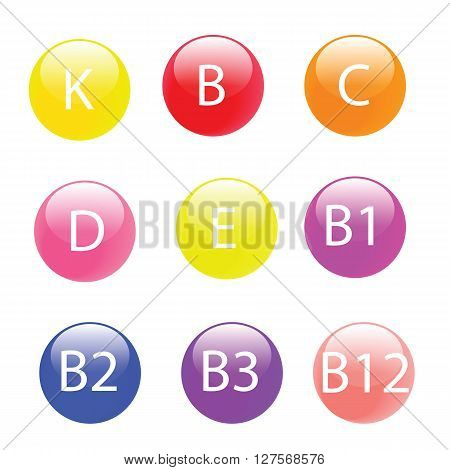 Collection of Multi-vitamin include  A,B,C,D,E,K,B1,B2,B3,B12 on the colorful ball vector isolated on white background in EPS8