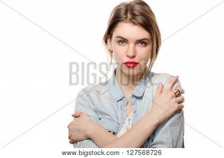Closeup Portrait Calm Woman Holding Hugging Herself Isolated White