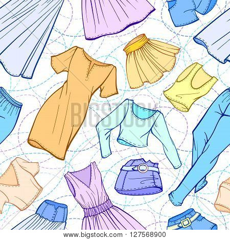 Vector women clothes seamless pattern. Dresses skirts jeans shorts t-shirts.