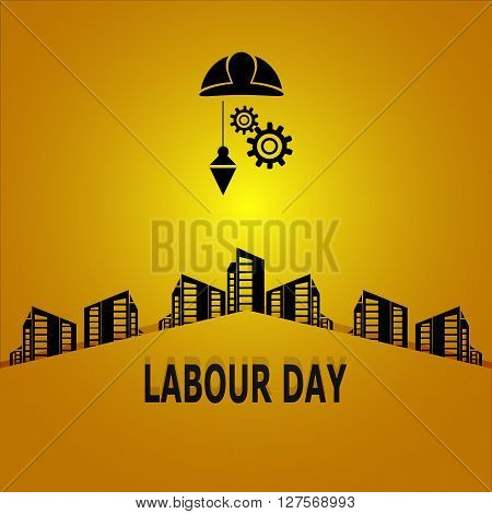 Labour day  text, construction concept vector illustration