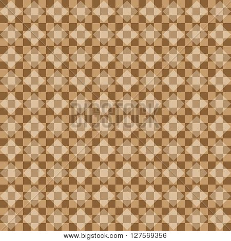 Abstract vector background. Geometric pattern. Beige brown. Rhombus square chessboard. Transparency.