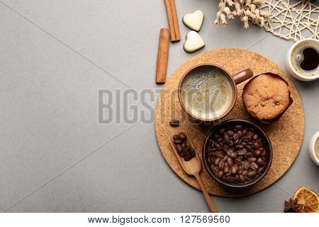 Still life of aromatic coffee on table, top view