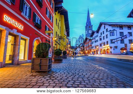 KITZBUEHEL AUSTRIA - FEBRUARY 15 2016- View of historic city Kitzbuehel at night place of famous hahnenkamm races and one of the best ski resort in the world with 170 km prepared slopes