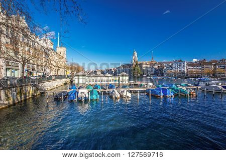 ZURICH SWITZERLAND - February 11 2016 - View of historic Zuerich city center with famous Fraumunster Church Limmat river Zuerich lake and Grossmunster Church Zuerich Switzerland