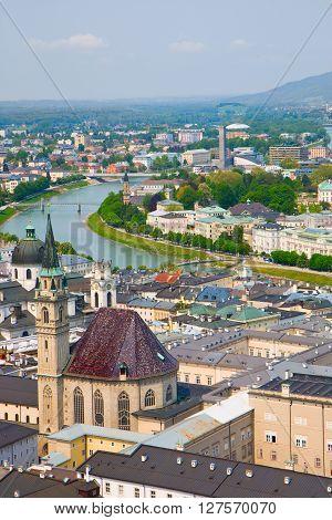 SALZBURG GERMANY - Mai 1 2009 - View to Salzburg city Mozart´s town.