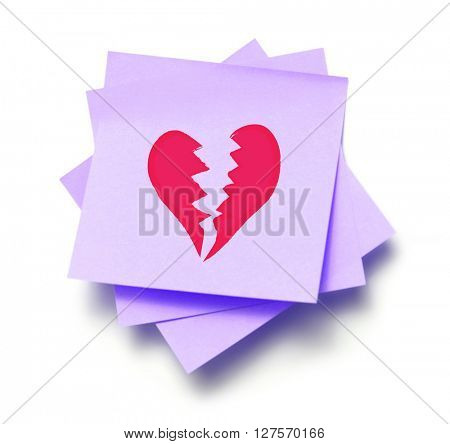 Broken heart written on a note