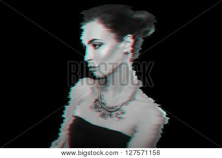 Glitched portrait. Attractive woman with jewelry. Fashion photo.