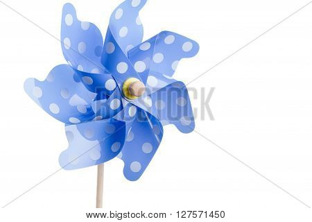 the blue pinwheel isolated on white background