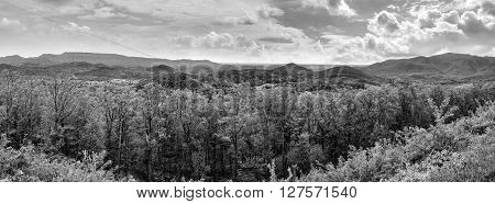 Black and white landscape panorama of Appalachian Mountains and rolling hills