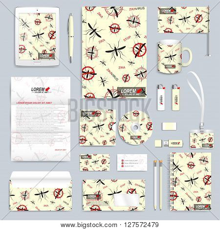 Zika virus set of vector corporate identity template. Modern business stationery mock-up. Zika mosquito backgraund. Aedes Aegypti seamless pattern. Branding identity design with mosquito.