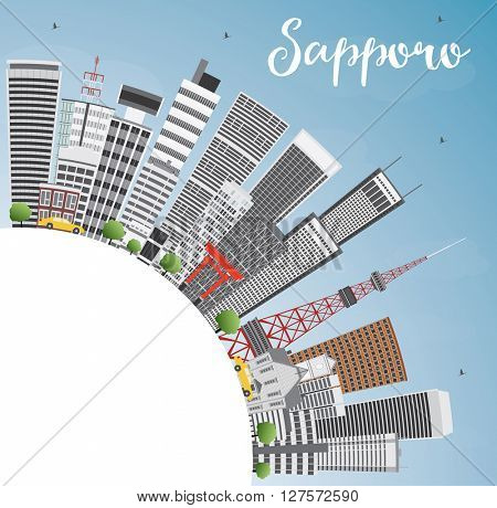 Sapporo Skyline with Gray Buildings, Blue Sky and Copy Space. Vector Illustration. Business and Tourism Concept with Modern Buildings. Image for Presentation, Banner, Placard or Web Site.