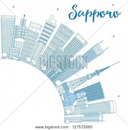 Outline Sapporo Skyline with Blue Buildings and Copy Space. Vector Illustration. Business and Tourism Concept with Modern Buildings. Image for Presentation, Banner, Placard or Web Site.