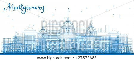 Outline Montgomery Skyline with Blue Buildings. Alabama. Vector Illustration. Business travel and tourism concept with modern buildings. Image for presentation, banner, placard and web site.
