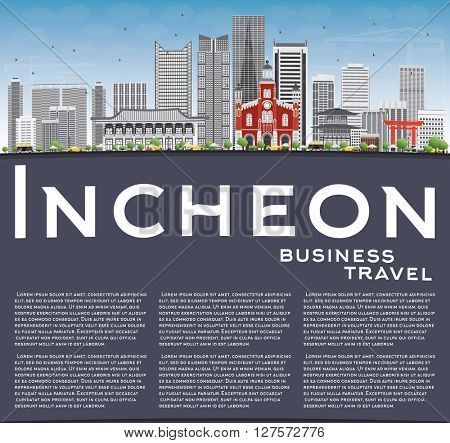 Incheon Skyline with Gray Buildings, Blue Sky and Copy Space. Vector Illustration. Business Travel and Tourism Concept with Modern Buildings. Image for Presentation Banner Placard and Web Site.