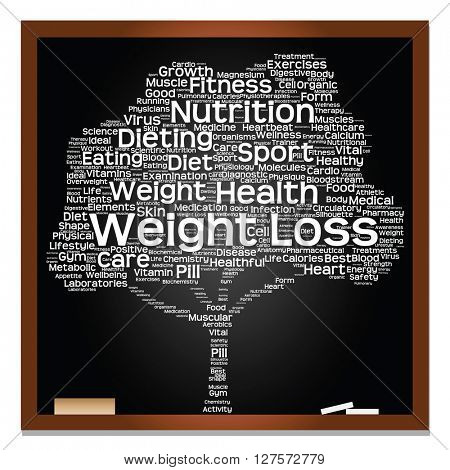 Concept or conceptual blackboard health or diet green text word cloud or tagcloud tree isolated on black background