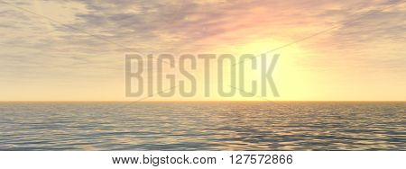 3D illustration of concept or conceptual sunset or sunrise background with the sun close to horizon and sea or ocean banner